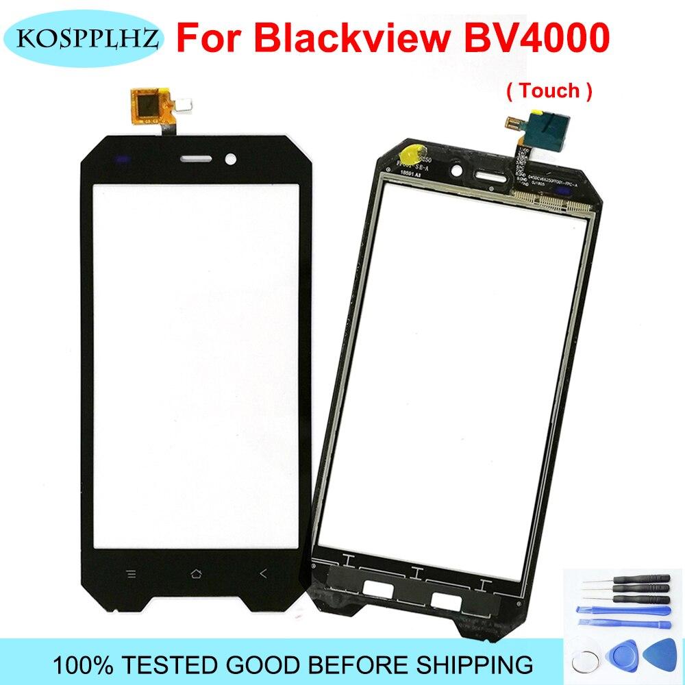 Preto 4.7 polegada frente exterior vidro para blackview bv4000 bv4000pro pro substituição da lente do painel de toque da tela toque bv 4000 + ferramentas