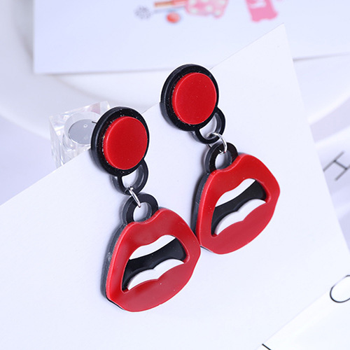 Acrylic Earrings Jewelry Pendientes Drop-Dangle Big Red Women Fashion Lips For Hiphop