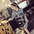 Free Shipping!2016 summer letter tom 61 embroidery sequined bling loose dress long version t shirt