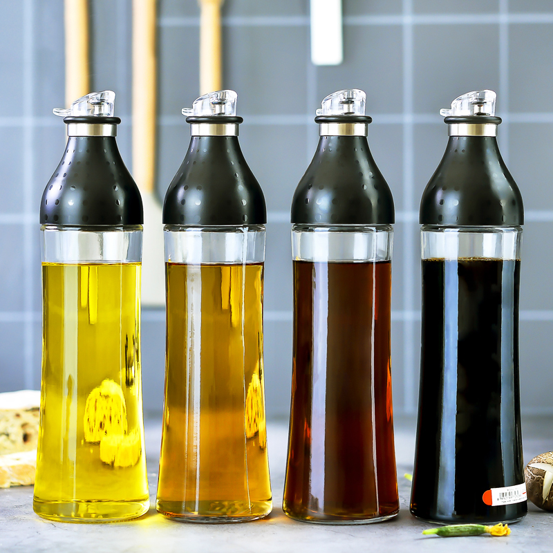 050 Multifunctional glass oil pot oil bottle kitchen tool Transparent tape cover without oil stainless steel spout 28 7 8cm in Bottles Jars Boxes from Home Garden