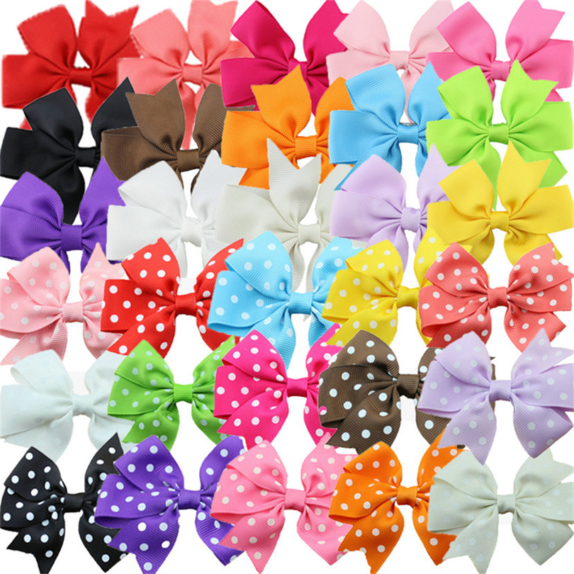 30pcs/set    hair  ribbon bow Prong Alligator Hairpins barrettes hair clip mixed kids  Boutique hair accessories