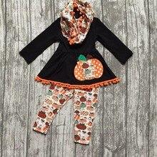 Halloween AUTOMNE/Hiver bébé filles tenues 3 pièces écharpe noir orange top Potiron imprimer pom pom pantalon boutique enfants vêtements
