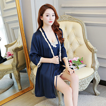 2018 new style womens nightgown two-piece set of sexy thin silk robe night skirt house home sleepwear braces