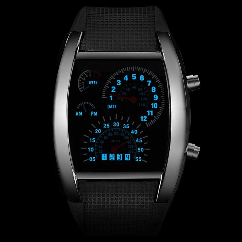 Erkek Kol Saati Fashion Men's Watch Unique LED Digital Watch Men Wrist Watch Electronic Sport Watches Clock relogio masculino