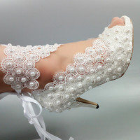 Lace Up Bride Wedding shoes fashion shoes for woman ankle strap party dress shoes Open toe high heels Pumps female