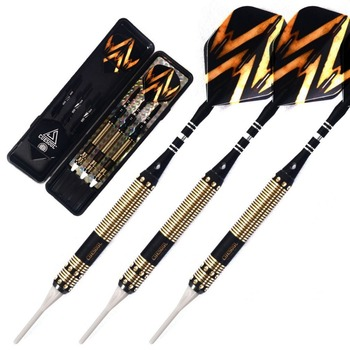 CUESOUL 3pcs 16 Grams Brass Barrels Soft Tip Darts with 2 set Aluminous material dart shafts cuesoul arch f1307 20 grams steel tip brass barrels nickle planting darts set with aluminum shafts and case
