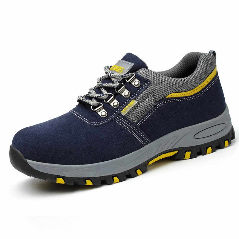 f489e14d0e4 Fashion Men Breathable Steel Toe Covers Working Safety Shoes Big Size  Platform Anti-puncture Tooling Security Boots Sapato 35-46
