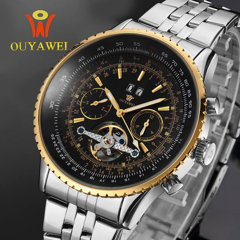 OUYAWEI Watch with Calendar Tourbillon Auto Mechanical Mens Watches Top Brand Luxury Wrist Watch erkek kol saati Montre Homme chic golden hollow rounded rectangle hasp bracelet for women