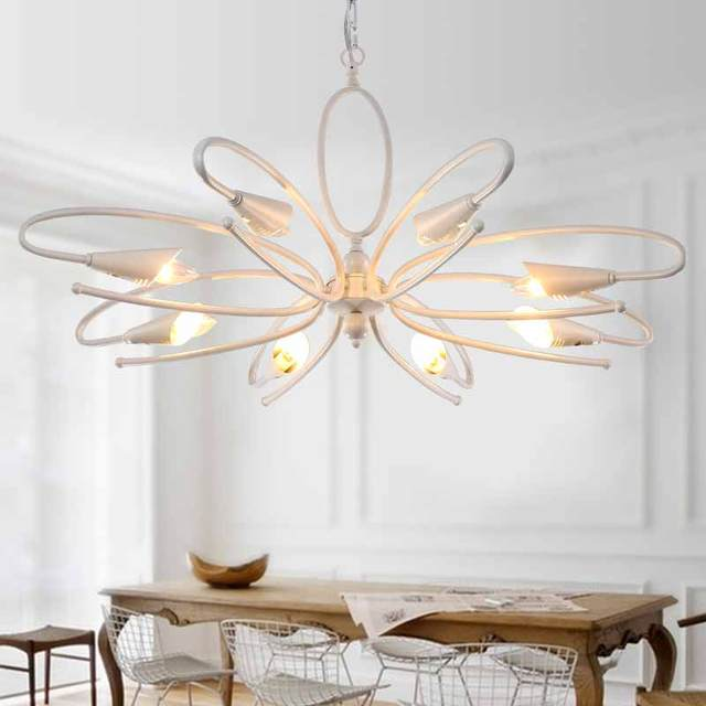 Modern Chandelier For Living Room Bedroom Hanging Iron White Art Deco Style Blc1515