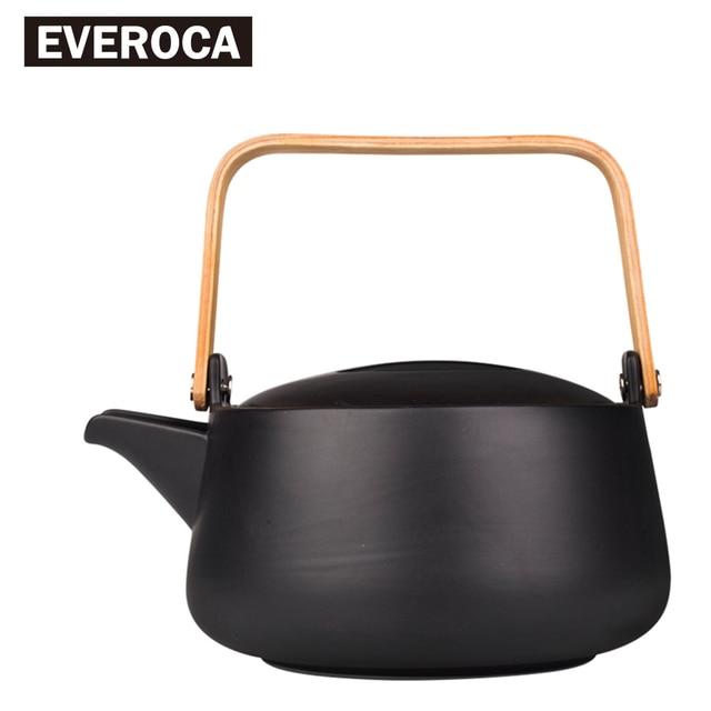 Zen Japanese Simplicity Teapot Pottery Tea Utensils Teapots Large Capacity Kettle Pacifier Bamboo Handle