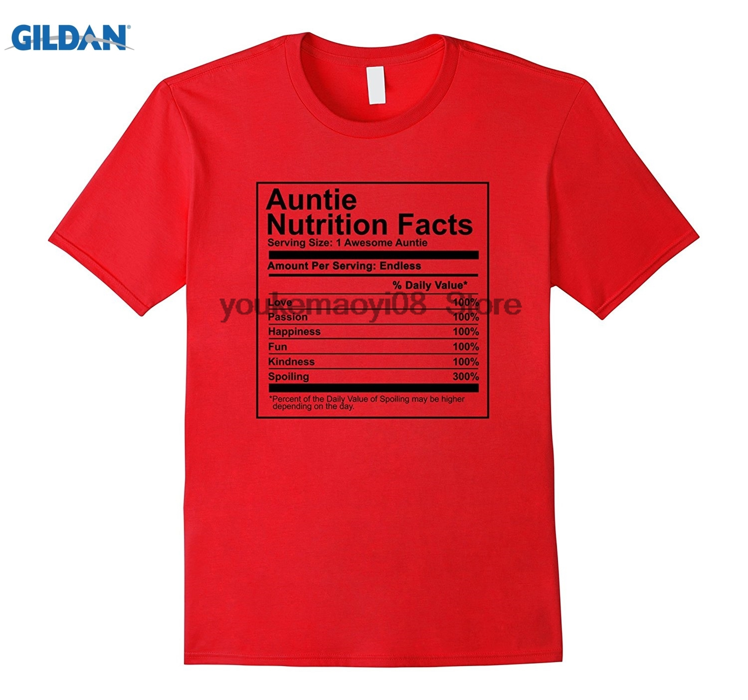 GILDAN Auntie Nutrition Facts Shirt Nutritional Mothers Day Gift