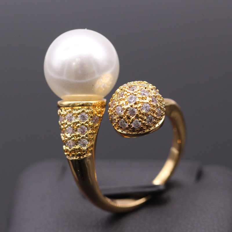 GZJY Cantik Warna Champagne Emas Dibuat Mutiara Putih Zircon Wedding - Perhiasan fashion - Foto 5