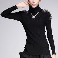 2018 Autumn winter women sweater black slim pullovers Metal badges Turtleneck stretch epaulet rivet Beading knitted sweater