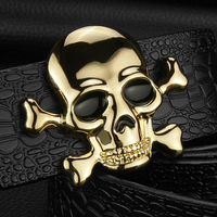 K Personality Buckle Skull Pirate High Quality Luxo Crocodile Luxe Marque 3 8cm Wide Designer