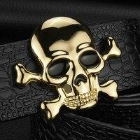 Hohe Qualität Schädel schnalle luxus gürtel herren Pirate Krokodilkorn designer breite gürtel Rindsleder echtes leder cintos masculinos