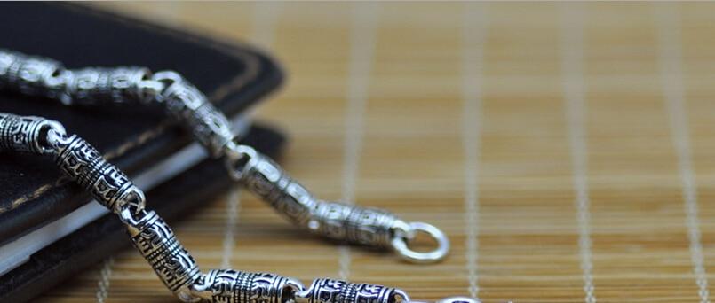 925 libras esterlinas de prata colar de cadeia longa regious Budda mantra prata thai retro cruz colar grosso (HY)