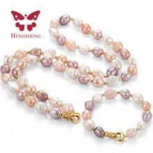 HENGSHENG 9-10MM natural freshwater pearl necklace&bracelet