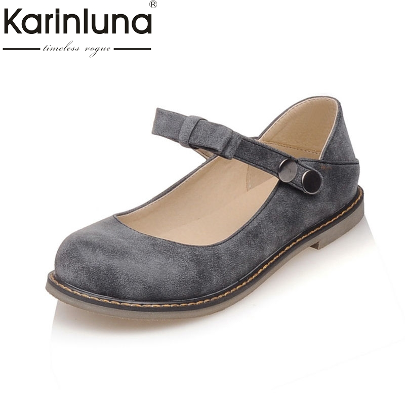 Karinluna 2018 Spring Summer Sweet Shallow Women Flats Big Size 33-43 Bow Casual Shoes Woman School Youthful Women Shoes lapolaka 2018 spring autumn sweet shallow women ballet flats bow beading slip on shoes woman big size 33 43 casual footwear