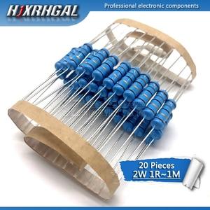 20pcs 2W Metal film resistor 1% 1R ~ 1M 2.2R 4.7R 10R 22R 47R 100R 220R 470R 1K 10K 100K 4.7 10 22 47 100 220 470 ohm hjxrhgal(China)