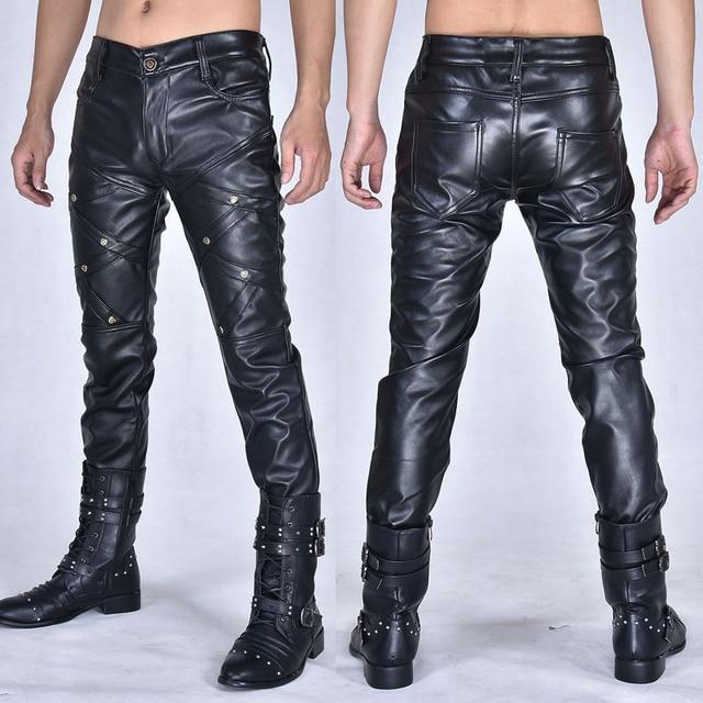 Nouvelle arrivla mode décontracté discothèque Costumes danse Hip hop Rock cuir pantalon loisirs hommes grande taille 27 28 29 30 31 32 33 36