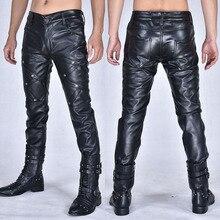 Nova arrivla moda casual trajes boate dança hip hop rock calças de couro lazer dos homens mais tamanho 27 28 29 30 31 32 33 36