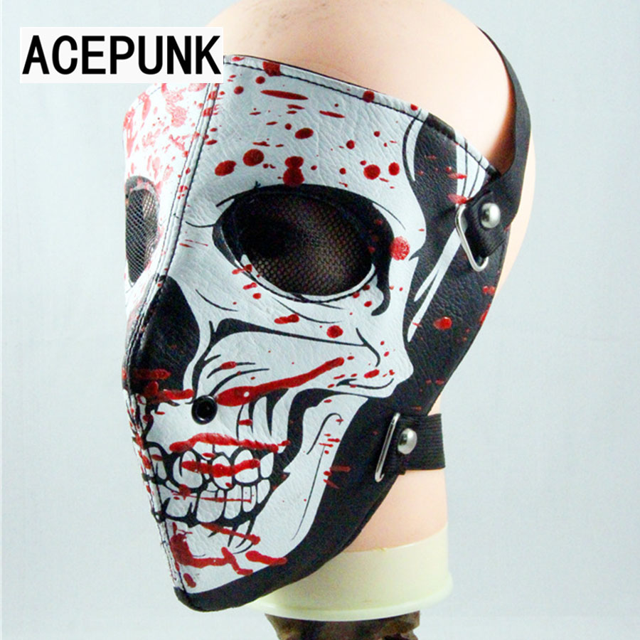 US $9 17 41% OFF|Skull Head Red Oil Pattern Leather Face Mask Steampunk  Sports Protective Cosplay Motorcycle Biker Masks Anti Dust Punk Mask-in  Boys
