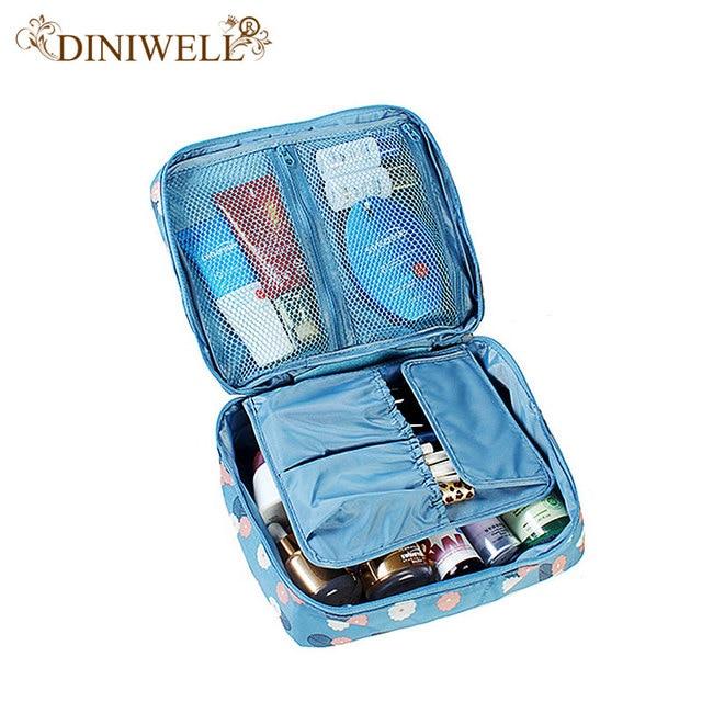7a683dc1e40e1 DINIWELL Unisex wodoodporny kosmetyczne makijaż torba toaletowe zestaw  podróżny organizator druku przechowywania siateczkowa kieszeń portmonetka  torba