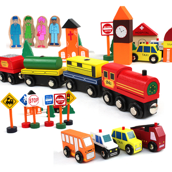 Wooden Building Blocks traffic scenes of children toy Set Wood Magnetic train toys Kids Classic wooden