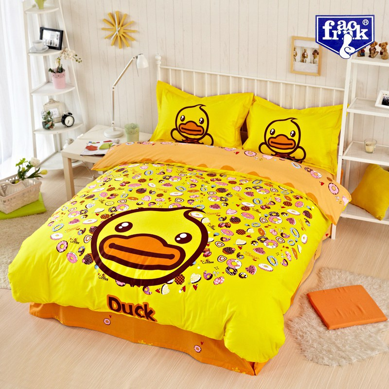 Rubber Duck Duckling Bedding Comforter Set Queen Size Duvet Cover Quilt Bed  Linen Sheet Bedspread Bedsheet Cartoon 100% Cotton In Bedding Sets From  Home ...