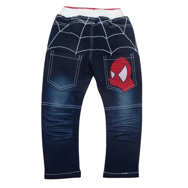 Calças Nova Primavera 2016 de Moda de Nova garoto Menino Bonito Spiderman Dos Desenhos Animados Calças Jeans Crianças Cowboy Frete Grátis YY1567