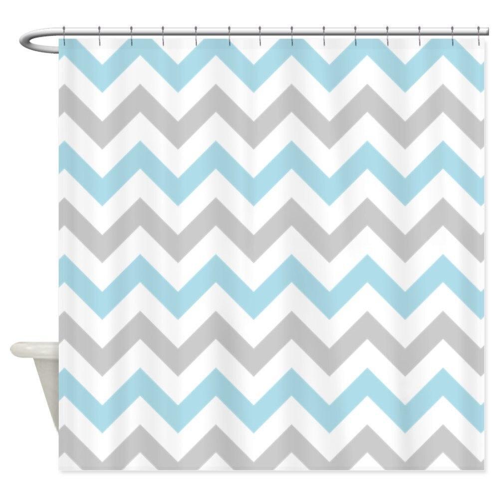 Blue And Grey Chevron - Decorative Fabric Shower Curtain ()