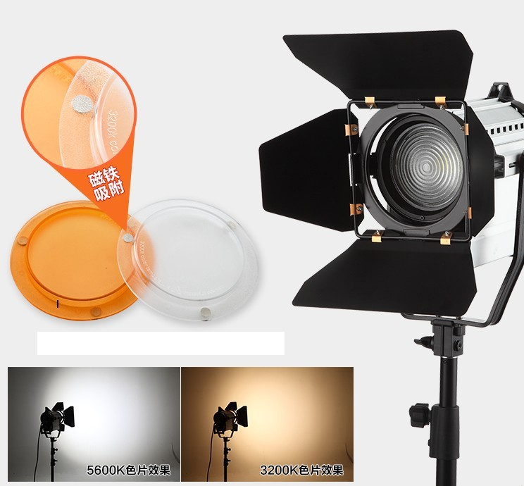 Wireless Remote Control Dimmable Bi color LED150W LED Studio Fresnel spot Light 3200 5500K for Camera Photo video Equipment CD50