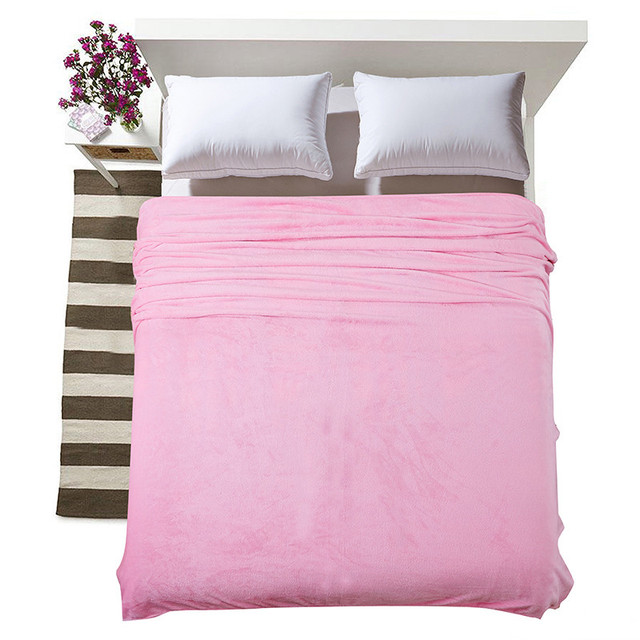 Charmant Flannel Solid Color Pink Blanket Sofa Bedding Throws Soft Plaids Winter  Flat Bedsheet 120*200cm