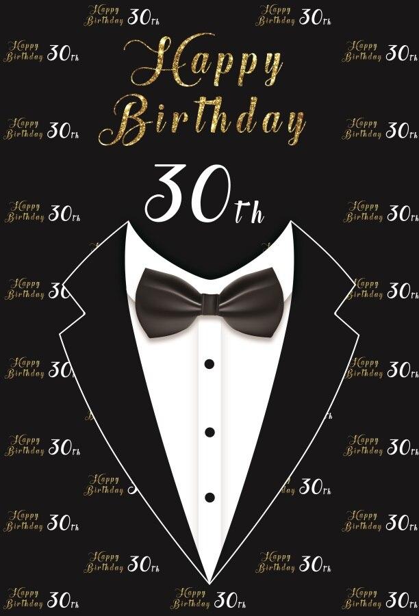 Laeacco Happy 30th Birthday Bow Tie Portrait Scene Men ...30th Happy Birthday Wishes For Men