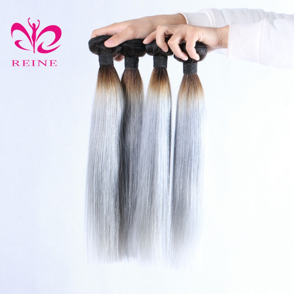 dark roots grey hair brazilian human hair body wave 3/4 bundles with closure ombre hair extensions REINE free shipping