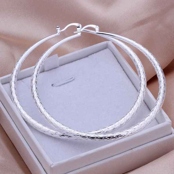 Hot! 925 jewelry silver plated earring ,fashion jewelry For Women, Yu Wen round ear ring - large /DLJIPMYX TVBPWBNI