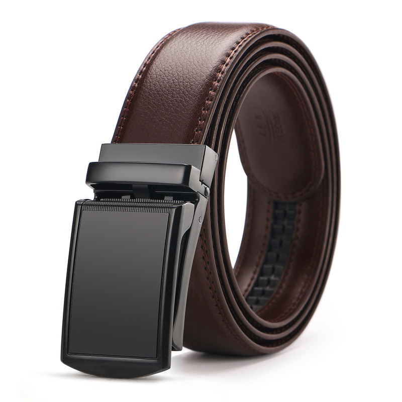 Men's Genuine Leather   Belt   Brown Automatic Buckle Size 110-130 cm Waist Strap Business Male Cintos High Quality
