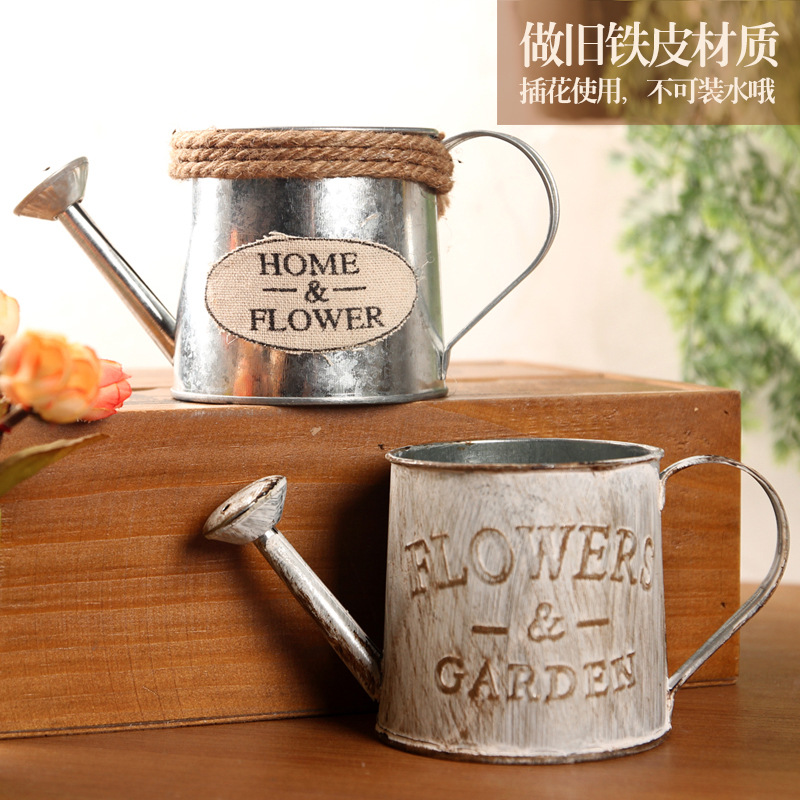 Retro Make Old Tin Kettle Creative Decoration Sprinkling Kettle Iron Art Place Pieces Tin Bucket Shooting Photography Props