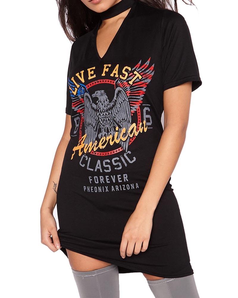 2018 New Fashion Spring Summer Womens Short Sleeve Halter V neck Eagle Motorcycle Printed Casual Loose Tunic Shirt Mini Dress