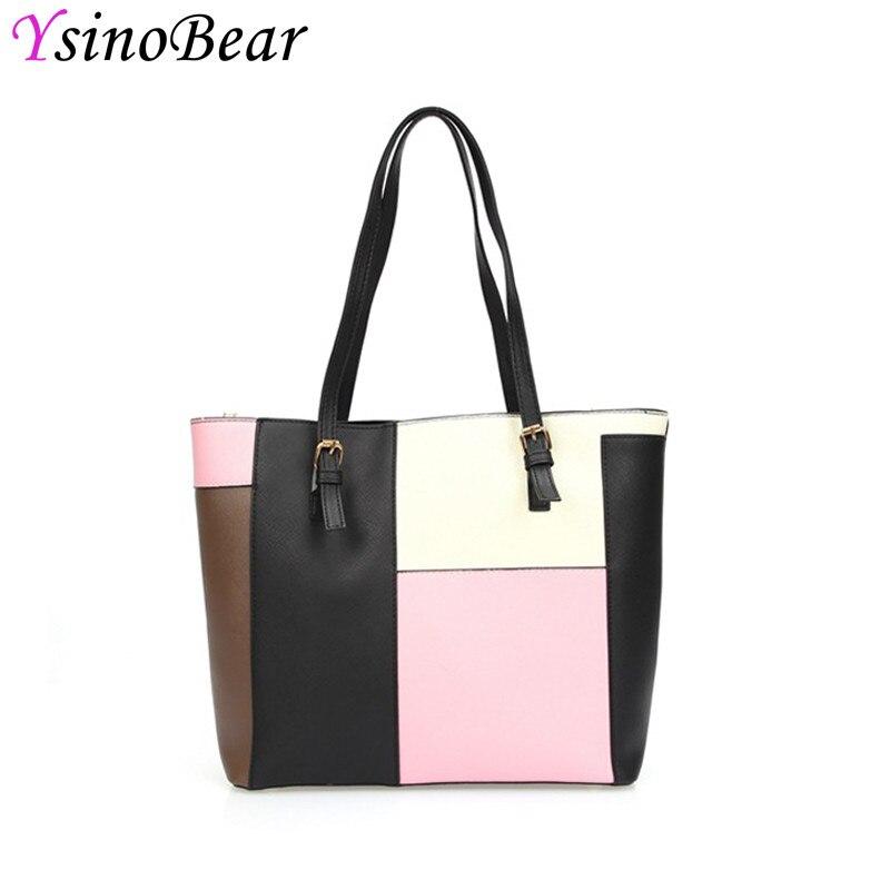 YsinoBear 2018 Fashion Patchwork Women Shoulder Bags Luxury Brand Style High Quality PU Leather Bag Casual Ladies Handbags Hot цена