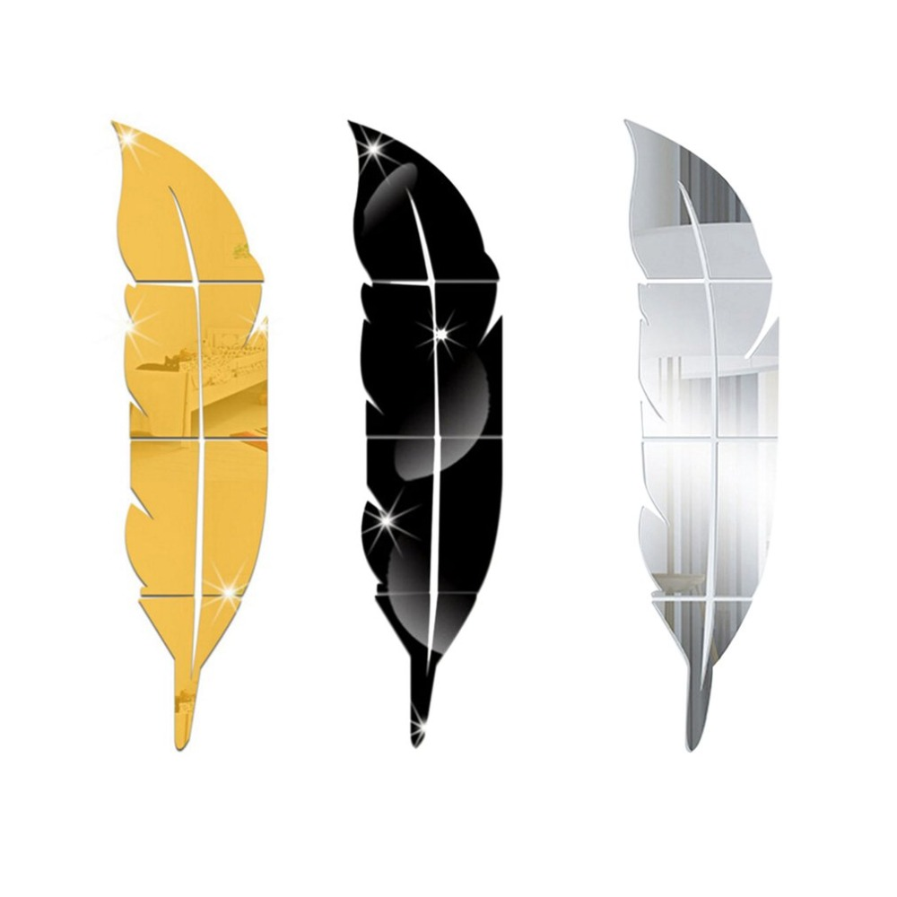 Fashion Simple 3D Feather Shape Mirror Sticker DIY Wall ...