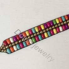 Forma ovalada pulsera colorida multicolor con cuentas de 3 hileras de hebras, joyería Vintage de verano para mujer