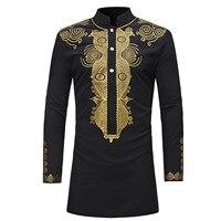 Brand Men's Clothing Blouses Shirt Casual Fashion Ethnic Print Shirt Long Stand Collar Shirt XC33