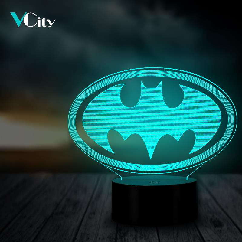VCity 3D Night Light Batman Multicolor Bedroom Decorative USB LED RGB Table Lamp Lighting Cable Kid's Gifts Toy Party Atmosphere image