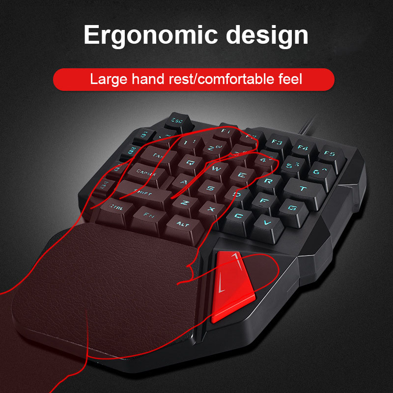 Single Hand Wired Gaming Keyboard 38 Keys Mini Mechanical Keypad for Dota OW PUBG XXM8