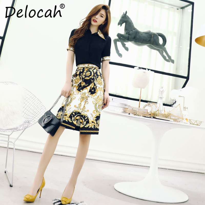 Delocah Spring Summer Women Set Runway Fashion Designer Short Sleeve Gorgeous Crystal Vintage Printed Slim Skirt