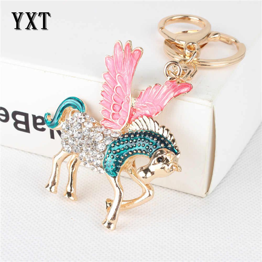 אופנה עף סוס כנף יפה קסם תליון קריסטל רכב ארנק תיק מפתח שרשרת טבעת Creative מסיבת מתנת אביזרים