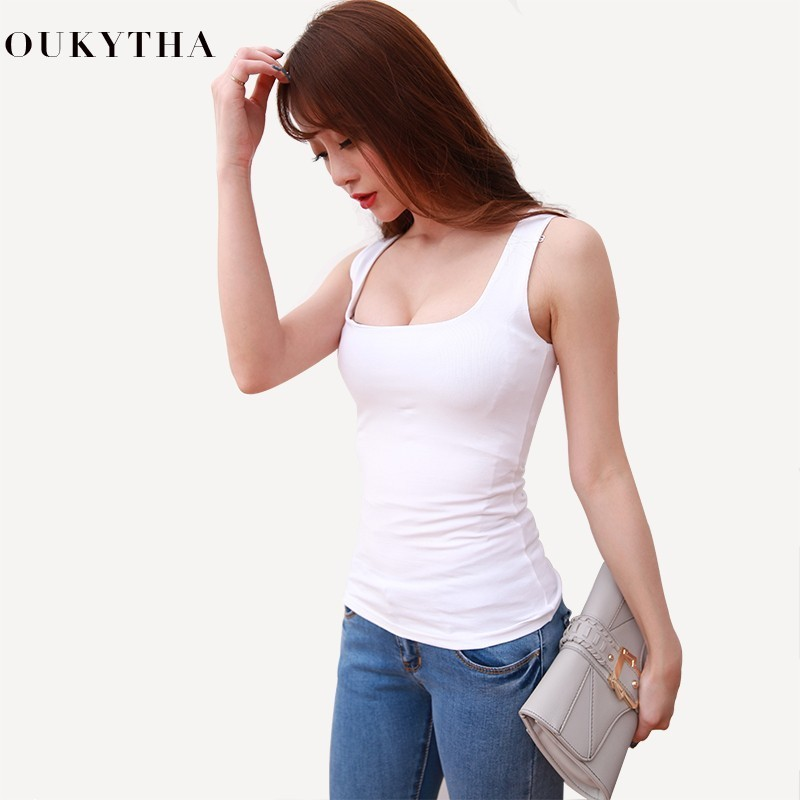Sexy Low Cut Tank Tops Women Large U neck Bottoming Cotton Basic Tanks Sexy Nightclubs Clothing