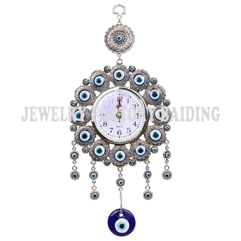 Turkish Elephont Evil Eye Hanging Wall Metal Glass Charm Pendent Amulet Nazar Home Watch Decoration Office Protector Ornament