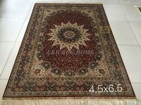 Free shipping 4.5' x 6.5' 230 Line Hand woven Silk Oriental Persian carpet Silk Rug medallion handmade